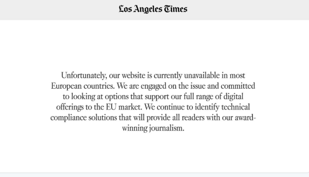 effect of gdpr on la times