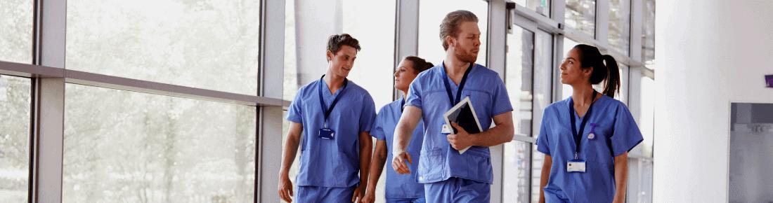 doctors walking in hospital